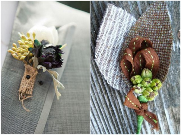 burlap boutonnieres Beautiful Burlap Wedding Ideas