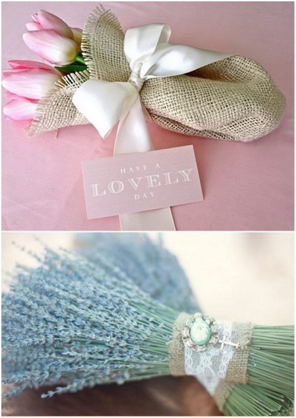 burlap wedding bouquet Beautiful Burlap Wedding Ideas