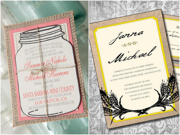 burlap wedding invitations Beautiful Burlap Wedding Ideas