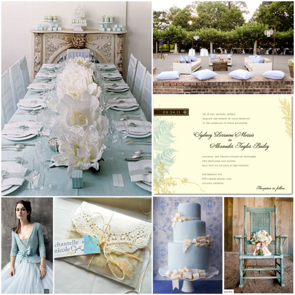 Ice Blue And Ivory Wedding Inspiration Board