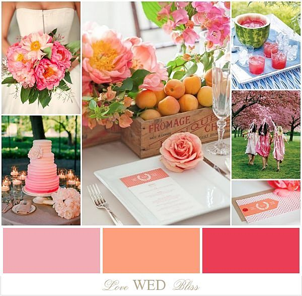 Pink Peach Melon Wedding Color Inspiration