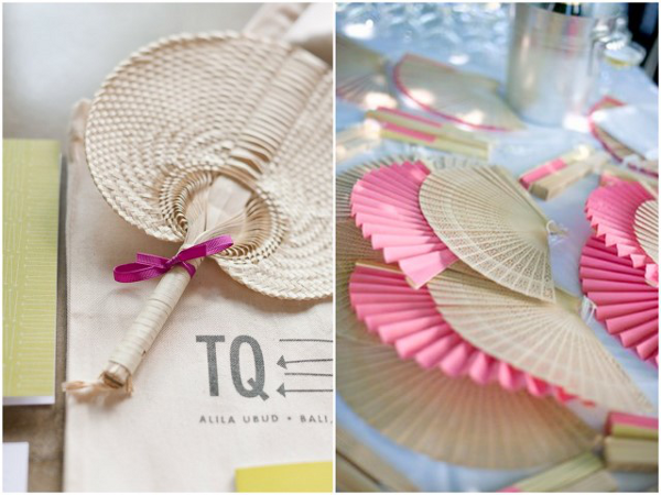 Fans are a great idea to use as wedding favors at an outdoor wedding