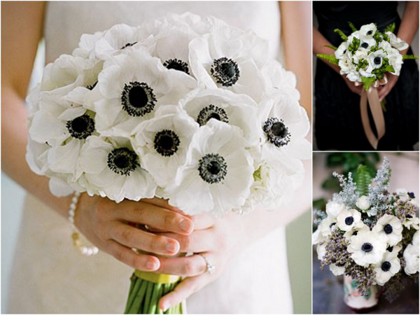black white anemones Black and White Anemone Wedding Inspiration