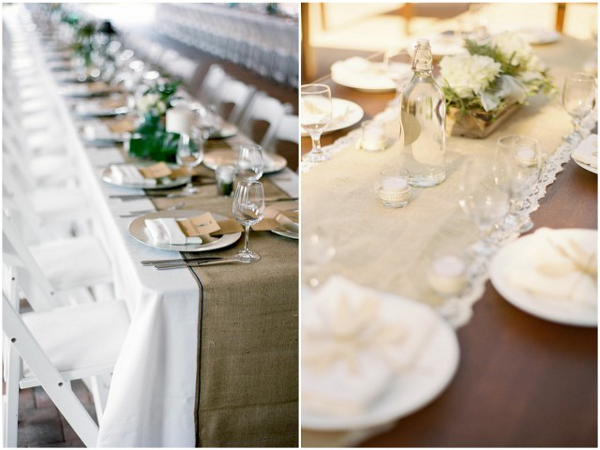 burlap table runners Beautiful Burlap Wedding Ideas