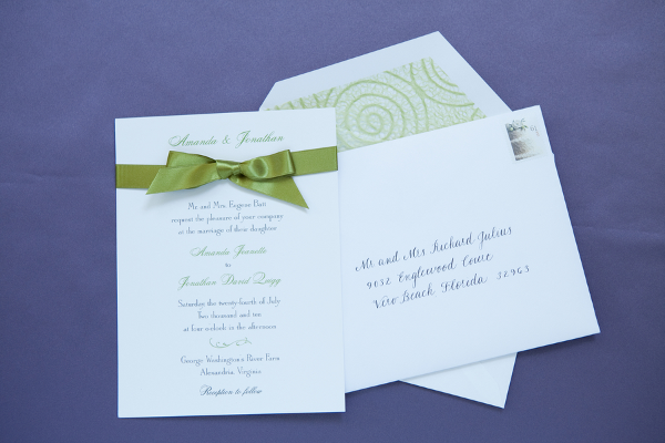 purple green wedding invitations Elegant Summer Virginia Wedding by Jan Michele Photography