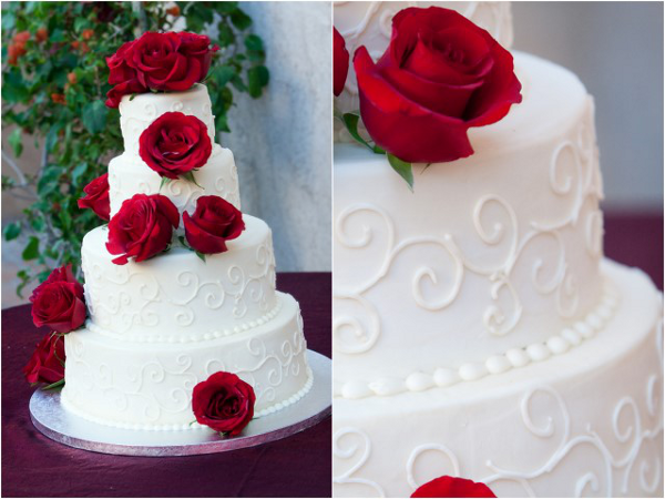 Red Outdoor Wedding Cake