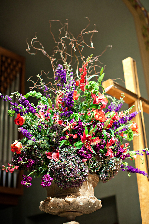 Traditional Wedding Purple Flower Display