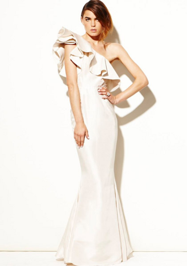 wedding dress inspiration ruffle dress Wedding Style Inspiration: Raw Silk Ruffle Dress