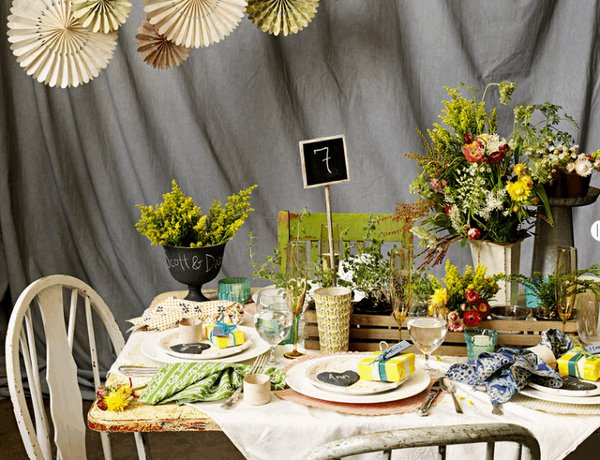 BHLDN Tablescape Slate Garden Place Setting