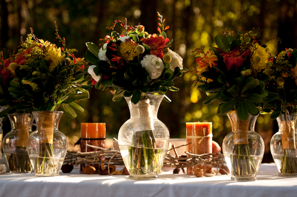 DIY Autumn Wedding Centrepieces
