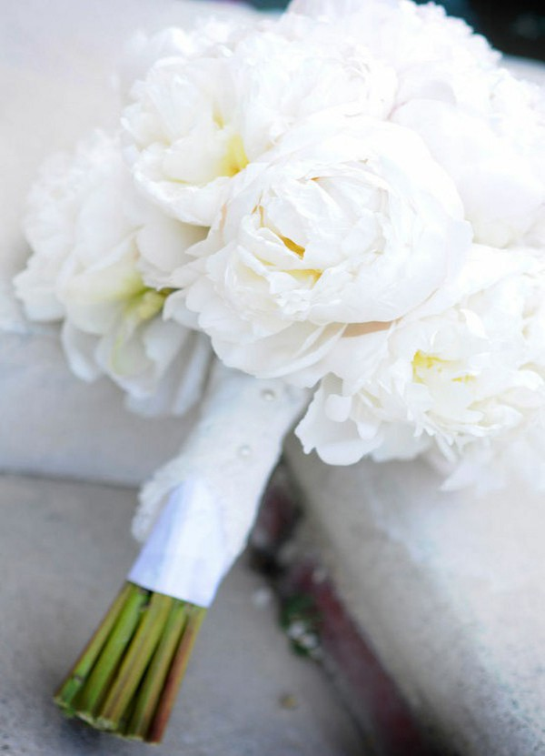peonies white wedding White Peony Bouquets