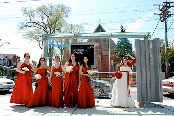 Red And White Bridesmaids