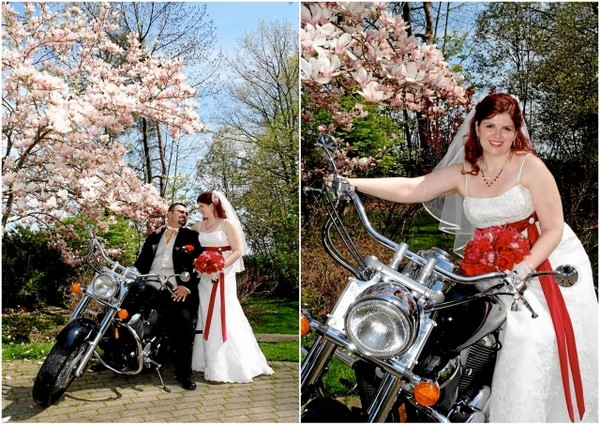 Red And White Wedding Bike