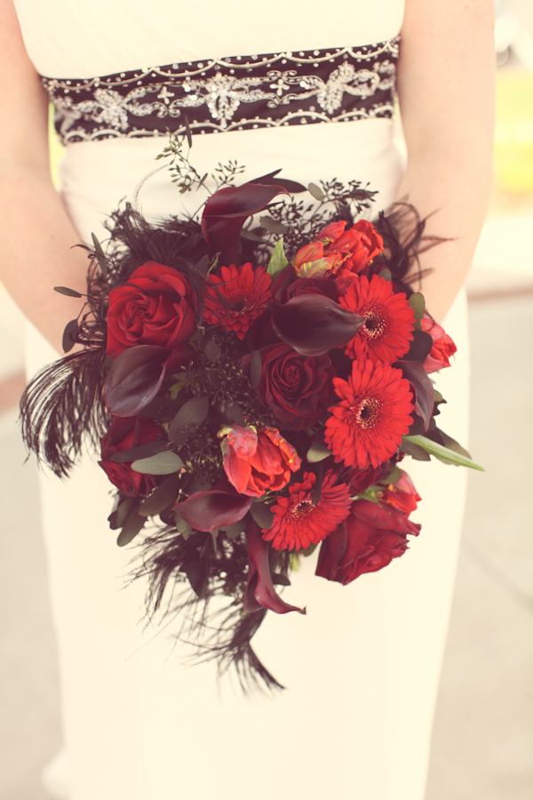 red white black wedding bouquet Red White & Black Rock n Roll Vintage Glam Wedding
