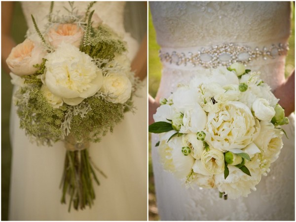 White Green Peonies Bouquet