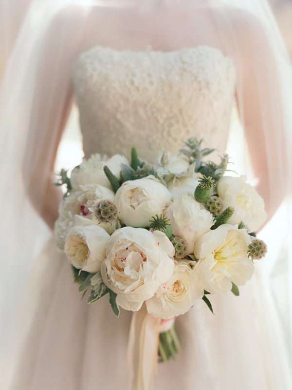 white peonies wedding bouquet White Peony Bouquets