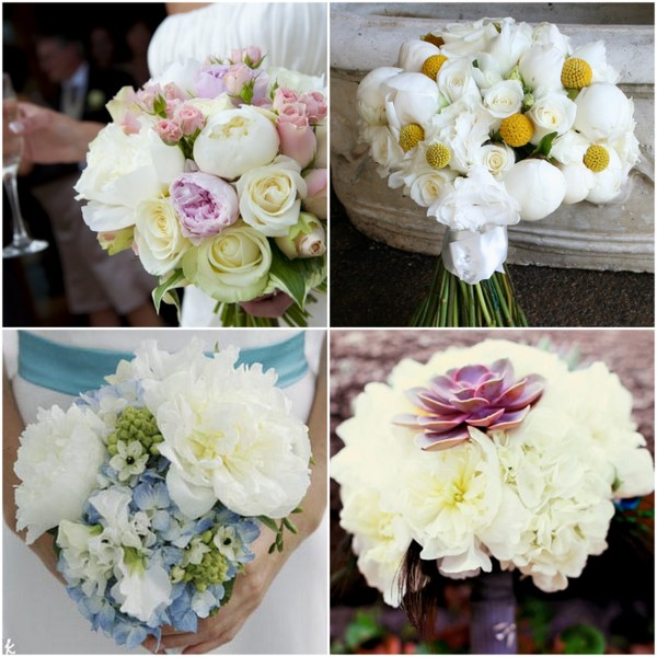 White Peony Pops Color Bouquets