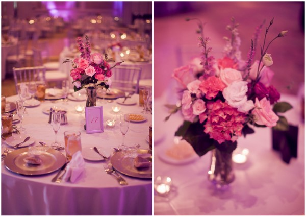 Pretty Pink Flowers Wedding Centerpiece