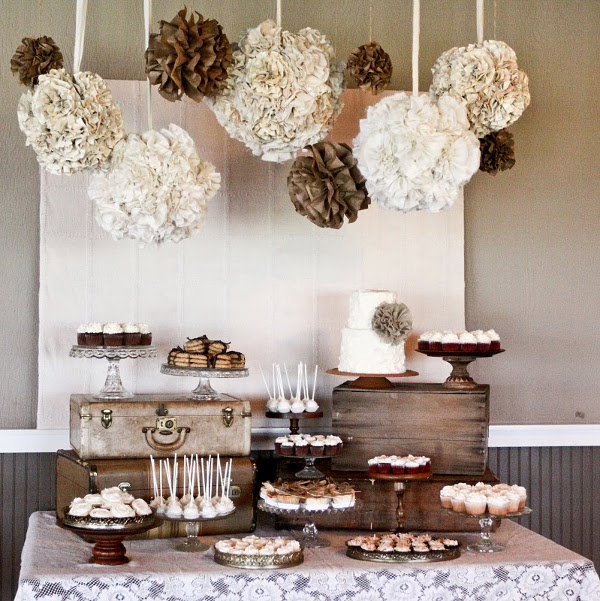 Burlap Lace Dessert Buffet Table
