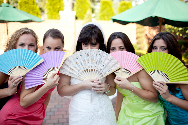 Multi Colored Bridesmaids Paper Fans
