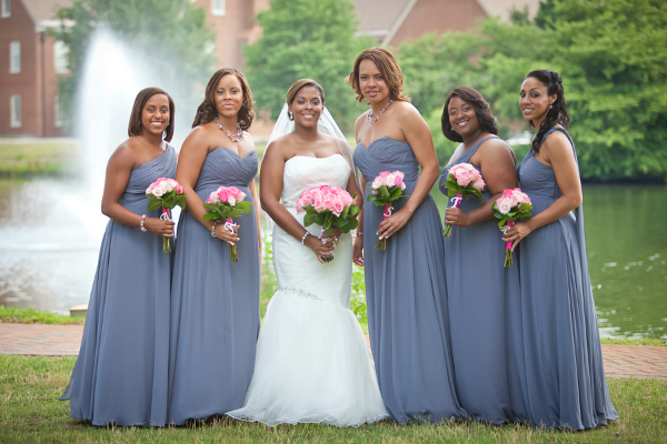 traditional wedding grey long bridesmaid dresses Founders Inn and Spa Virginia Beach Wedding