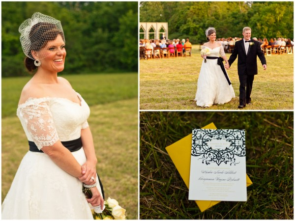 Black White Damask Yellow Rustic Details