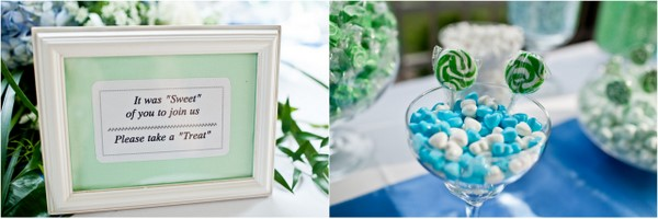 Blue and Green Wedding Candy Table