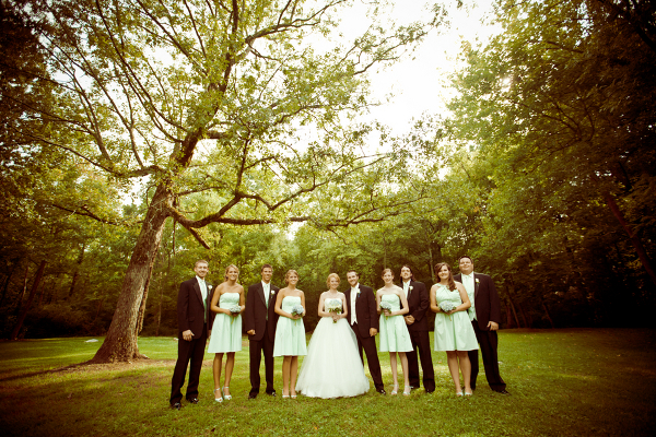 Blue and Green Wedding Party Outdoors