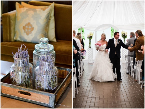 Lavender Jars Wedding Aisle