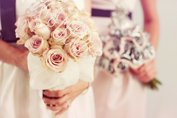 Modern Bridal Bouquets Pastel Pink Silver