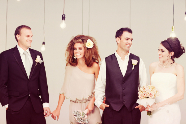 Modern Wedding Party Taupe Black White
