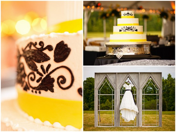 Shabby Chic Black White Yellow Wedding Cake