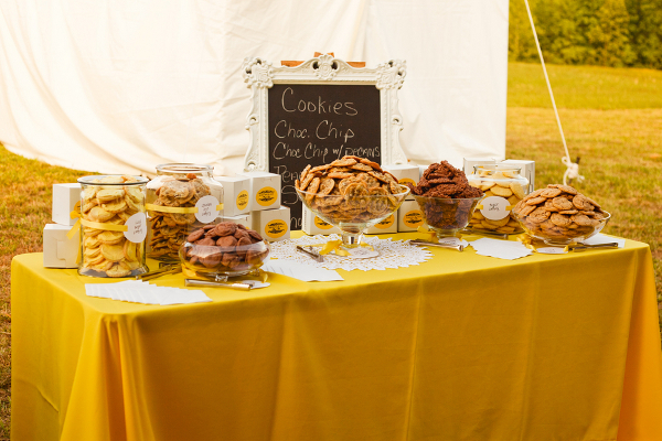 Yellow White Cookie Buffet Table