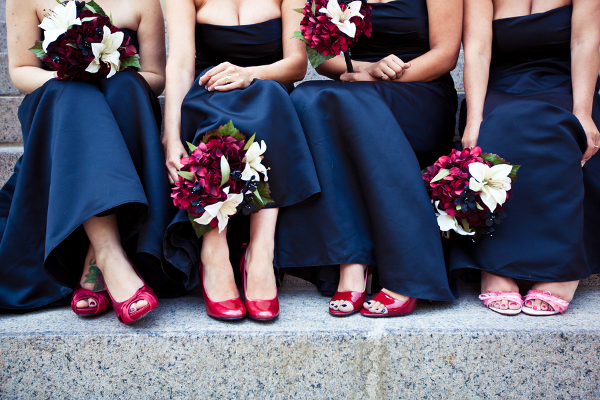 Black Evening Bridesmaid Gowns Red Shoes