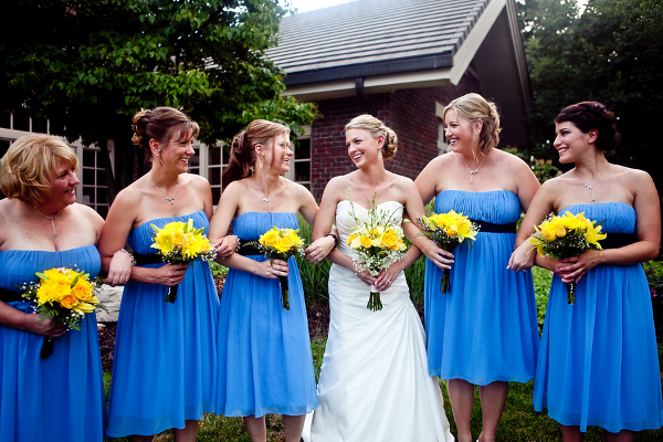 Blue Bridesmaids with Yellow Bouquets