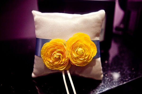 Blue with Yellow Flowers Ring Cushion