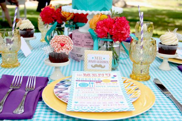 colorful vintage place setting Vintage Summer Carnival Wedding Theme