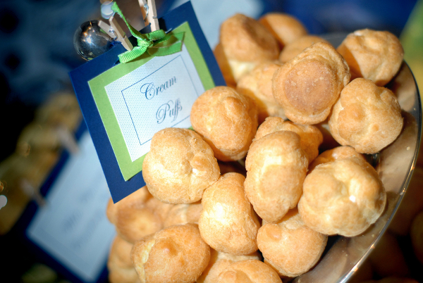 Cream Puffs with Green & Blue Labels
