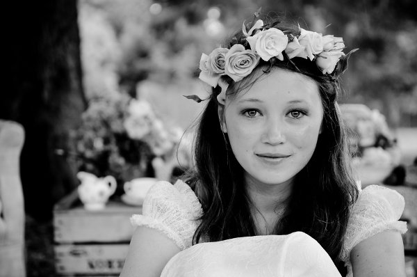 English Bride with Floral Head Wreath