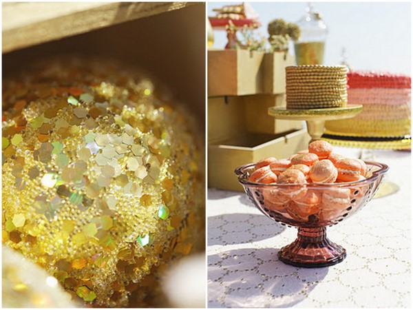 Gold Sparkly Cushion & Pink Glitter Macaroons