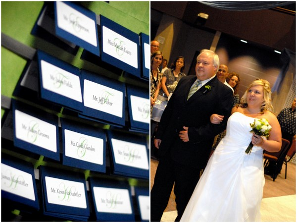 Navy Blue & Green Seating Cards