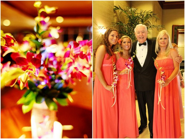 Pink Corals Orchids Bridesmaids