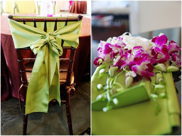 Soft Green Chair Bow & Pink Orchids