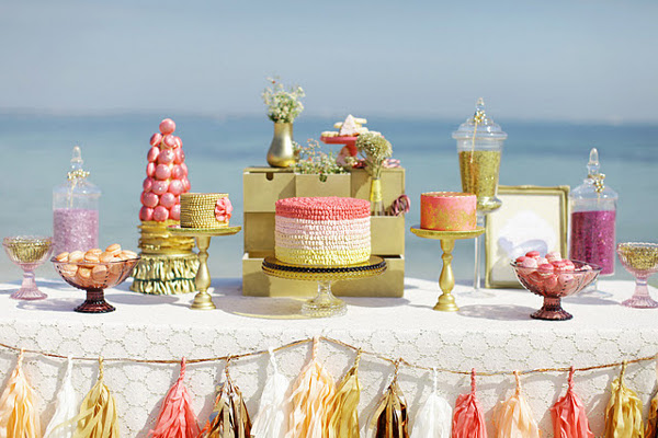 Sparkly Gold & Blush Pink Christmas Dessert Table