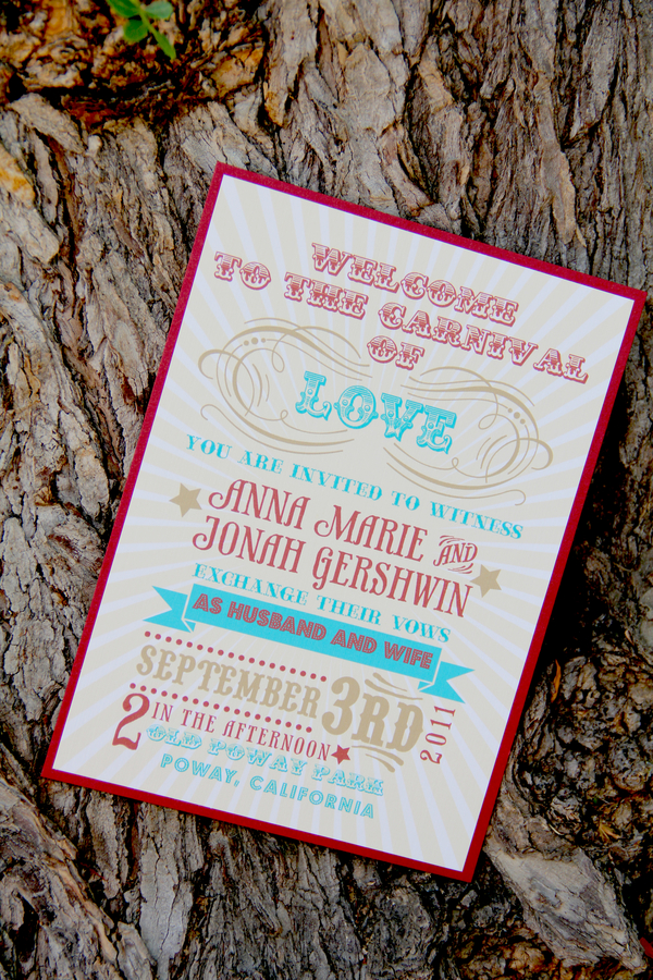 vintage carnival stationery Vintage Summer Carnival Wedding Theme