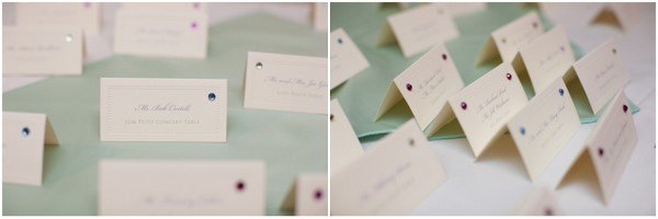 Bejewelled White Seating Cards
