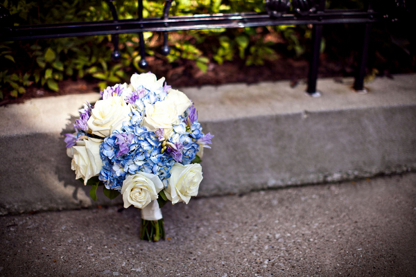 Blue Hydrangea and White Roses Bouquet