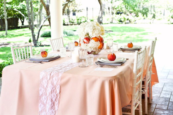 Peach wedding theme you could easily diy peach and white wedding theme ideas peach wedding theme table junglespirit Gallery