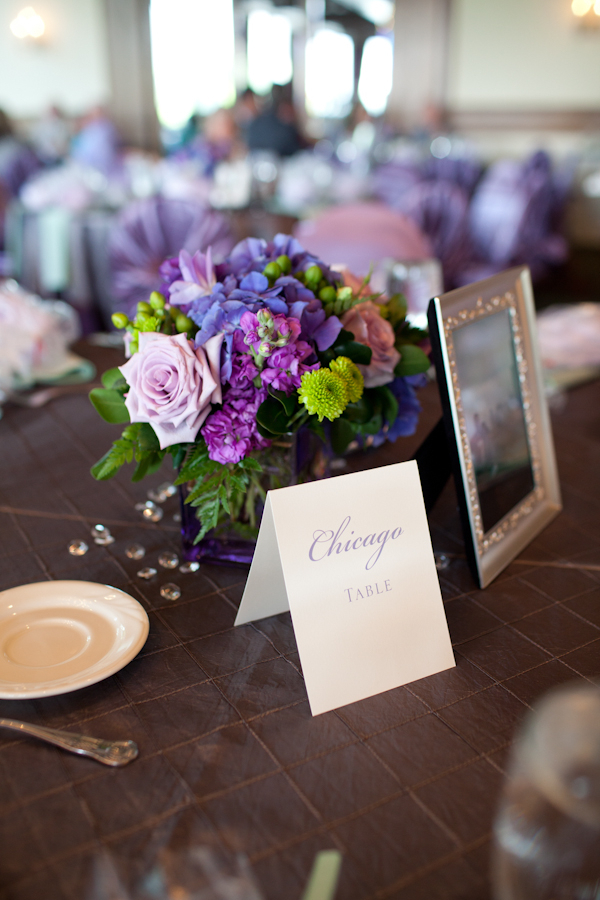 Purple Green Wedding Table Centrepieces