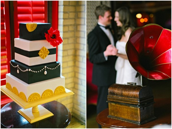 red yellow black wedding cake Poppy Red and Marigold Vintage Glam Wedding Theme